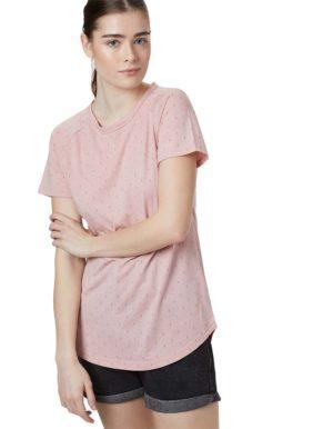 Tree pring raglan Női póló rózsaszínű, modellen.