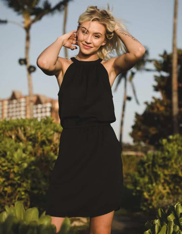 TenTree Cypress fekete női ruha Tencel modell style 3