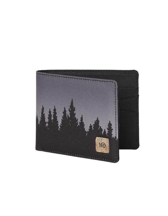 Tentree újrahasznosított pénztárca fekete Juniper előröl nyitva