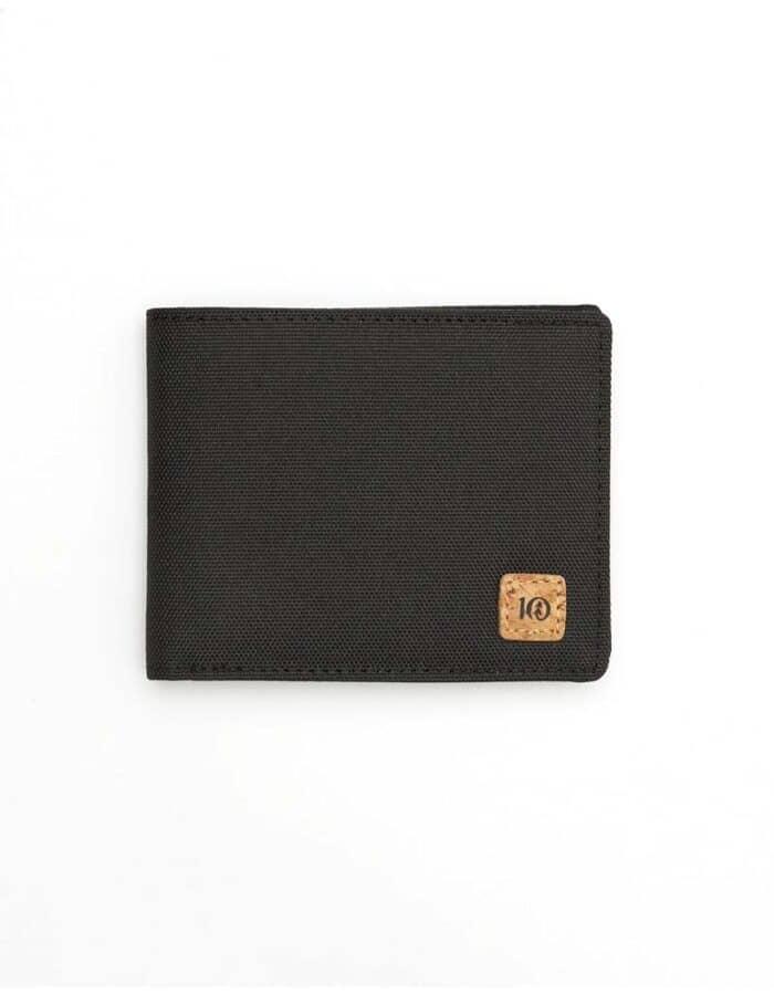Tentree újrahasznosított pénztárca fekete sima előröl