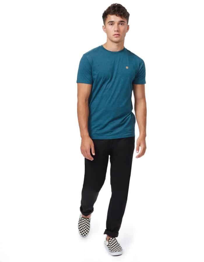 TenTree Treeblend Classic férfi póló zöldeskék színben távolt