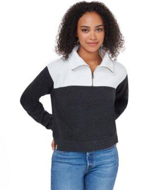 Blocked 1/4 cipzáros női pulóver- Tentree