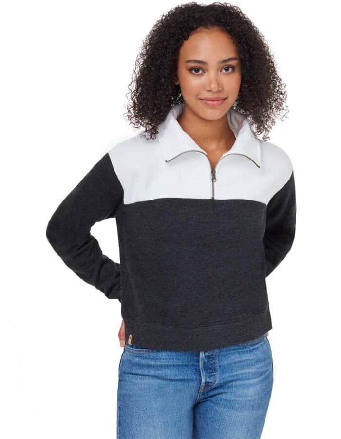 Blocked 1/4 cipzáros biopamut -újrahasznosított női pulóver