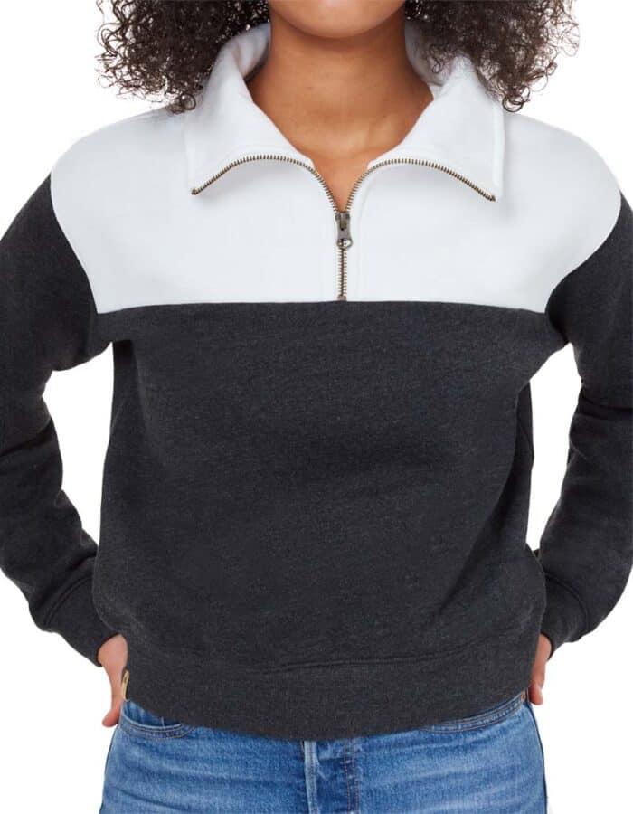 Blocked 1/4 cipzáros biopamut -újrahasznosított női pulóver közeli