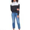 Blocked 1/4 cipzáros biopamut -újrahasznosított női pulóver teljes