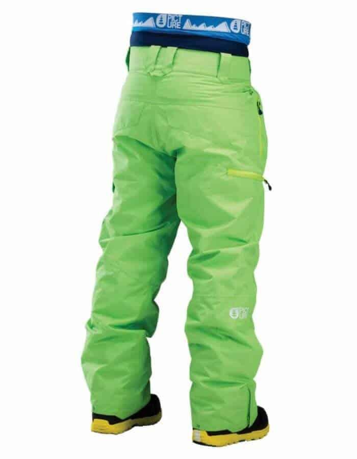 Door sínadrág zöld színben hátulról, közeli, modellen