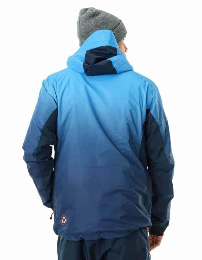 Gradient férfi újrahasznosított síkabát kék hátulról