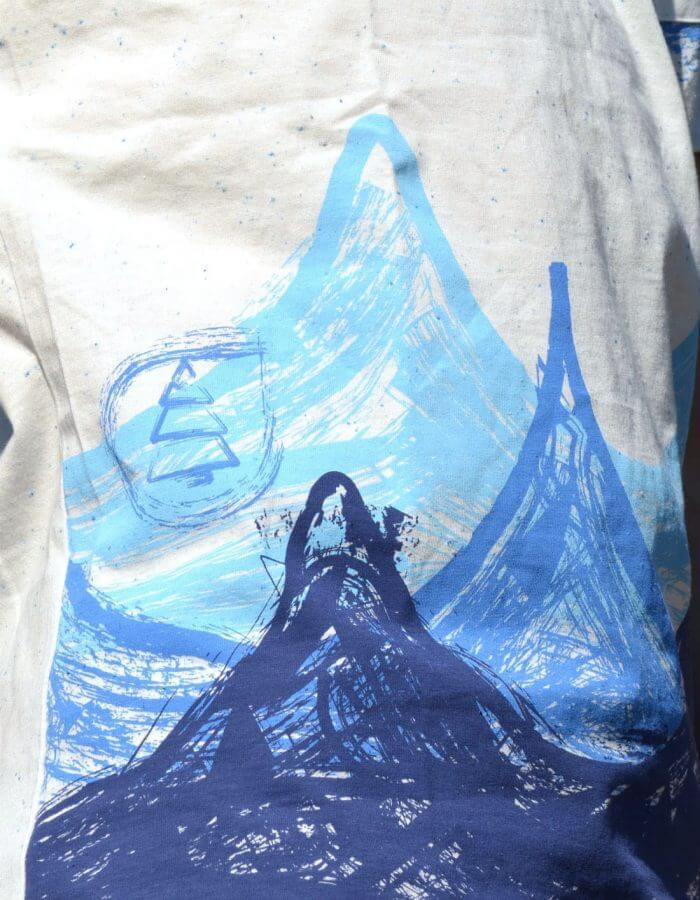 Lagoon férfi póló egyedi hullámokra emlékeztető mintával