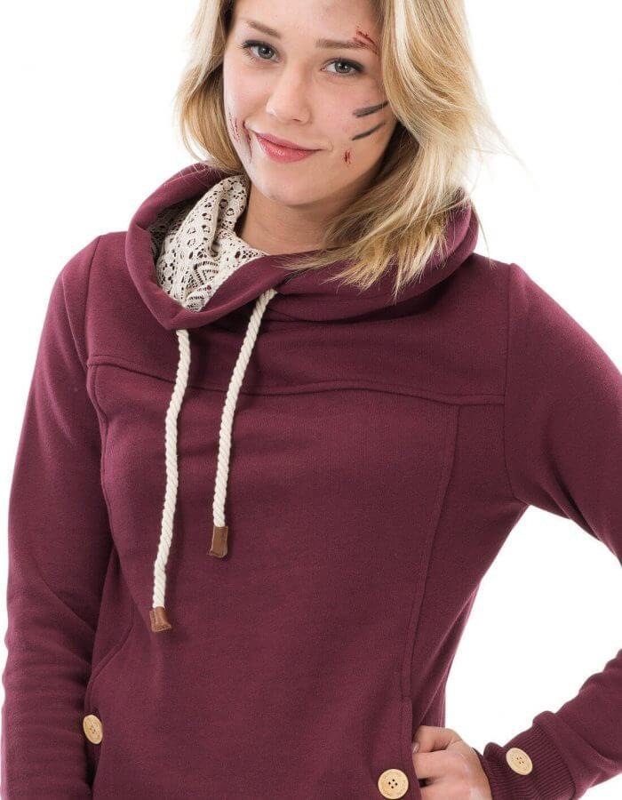 Laice kapucnis pulóver burgundi közeli - Picture Organic Clothing