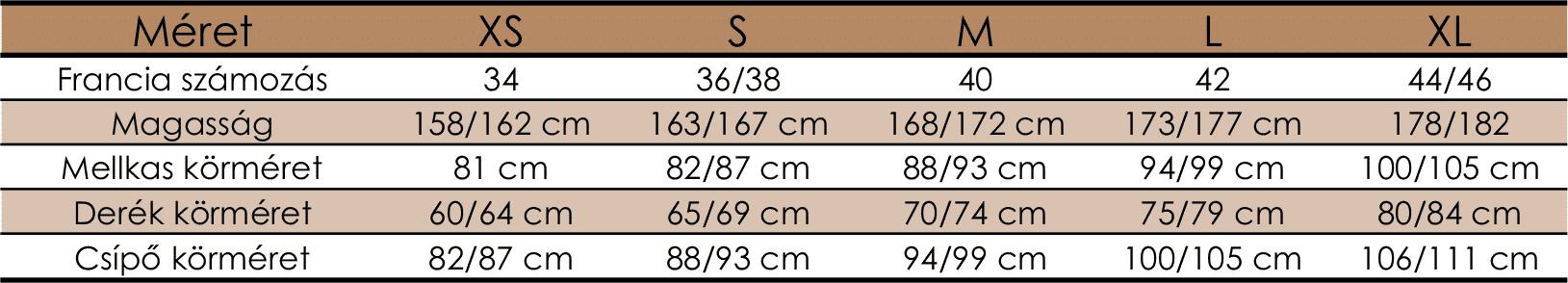 női méretek
