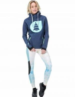 Miller női technikai kapucnis pulóver - kék távoli 2