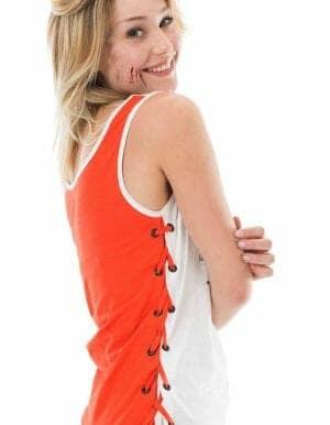 Mind női póló fehér-narancs oldalról