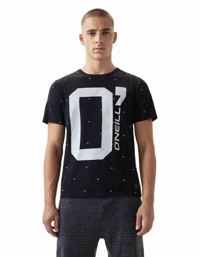 Oneill O' póló fekete biopamut póló előröl modell