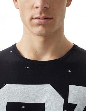 Oneill O' póló fekete biopamut póló közeli modell