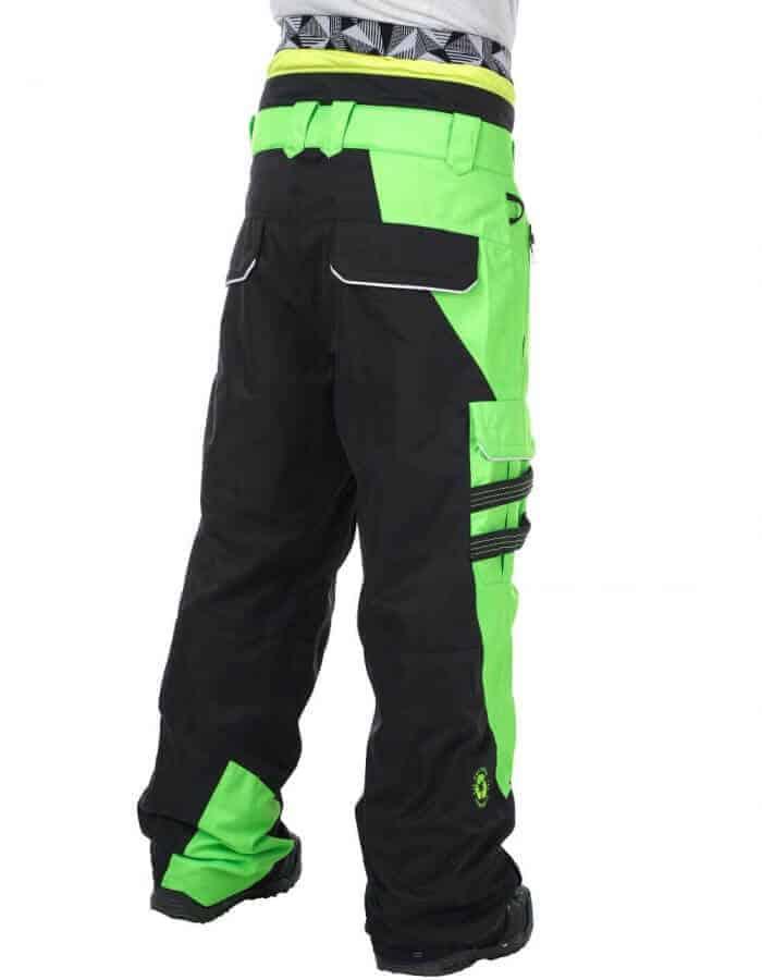 Styler snowboardnadrág hátulról - fekete-zöld