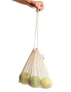 URBANSTYR bevásárló hálós zsák Zero Waste almákkal