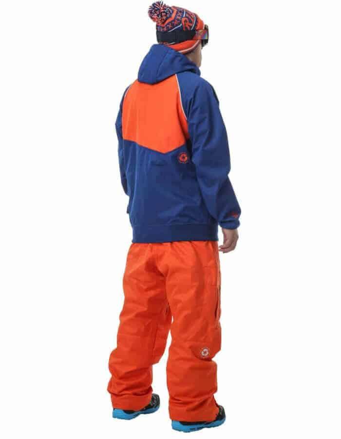 Zak férfi síkabát kék-narancs hátulról